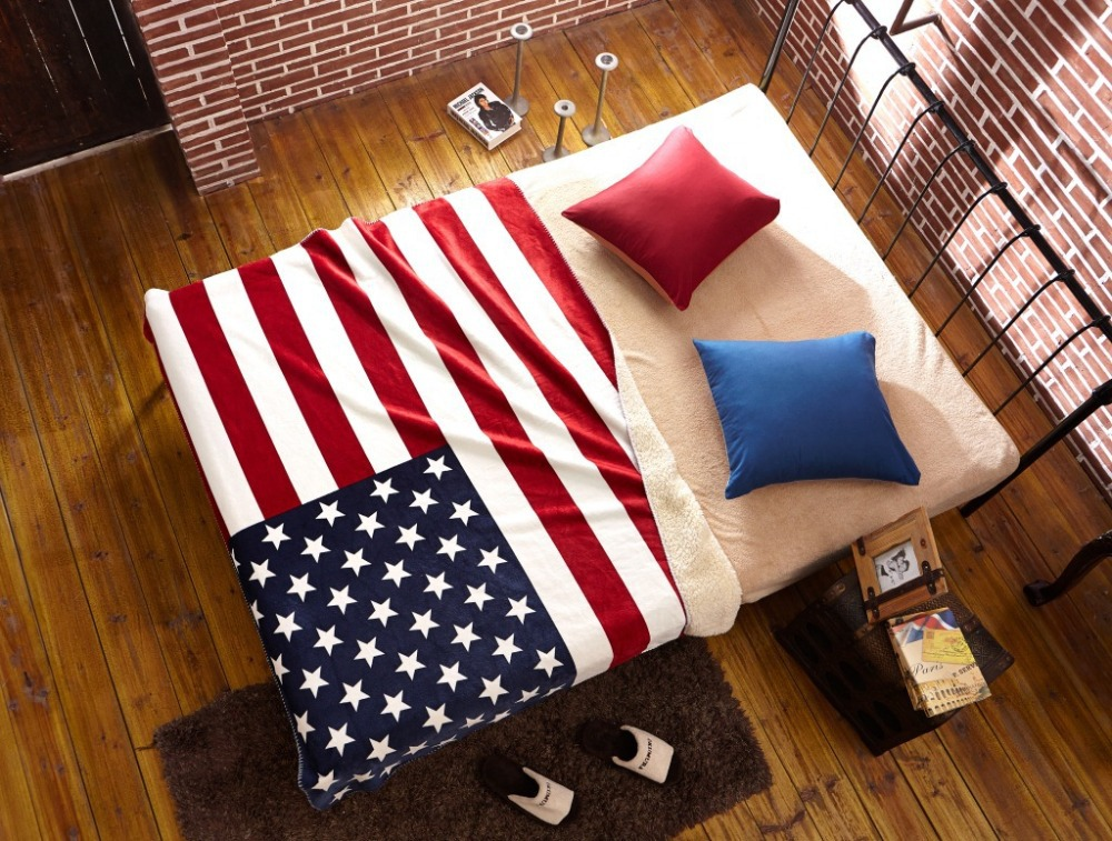 ФОТО 160*130cm American Flag British Flag Coral Fleece Blanket On The Bed Large Towel Manta Para Sofa Crochet Warm Throw Blankets