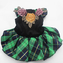 Green/Red Plaid dog Wedding dress with Flowers design,pet skirt clothes apparel,4 sizes available(China)