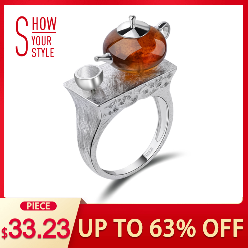 Lotus Fun Real 925 Sterling Silver Natural Amber Original Handmade Fine Jewelry Vintage Ring Cute Teapot Cincin for Women Bijoux