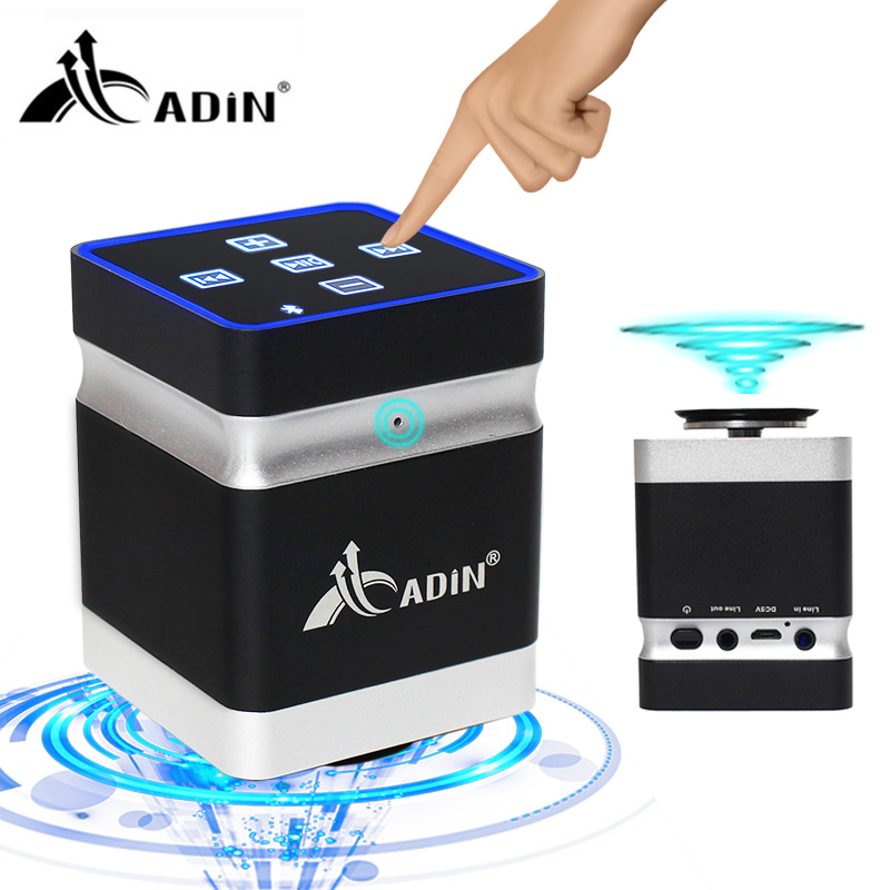 Adin 26W Portable Resonance Vibration Music Speaker Box Super Bass Vibro Wireless Bluetooth Handsfree Touch Speakers for Phone стоимость