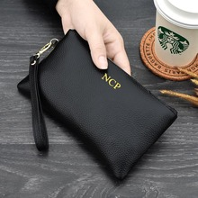 KANDRA 2019 Custom Name Genuine Leather Women Wallets and Purses Female Luxury Brand Designer Clutch Zip Purse Wristlet Bag