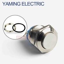 16 мм металлический кнопочный переключатель IP67 Водонепроницаемый никелированный латунный пресс-Кнопка самосброс 1NO Высокий/плоский/Форма К...