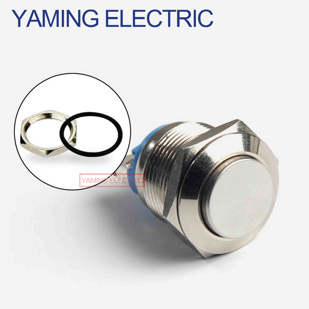16mm Metal Push Button Switch IP67 Waterproof Nickel Plated Brass Press Button Self-reset 1NO High/Flat/Shape Round Momentary