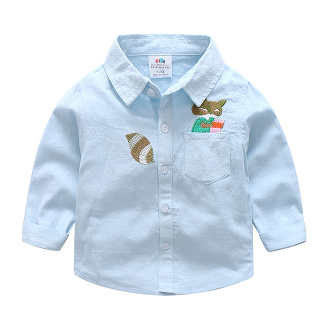 c92ef54f Baby boy cartoon Cotton Turn-down Collar School Shirts boy long sleeve  Blouse children's clothing