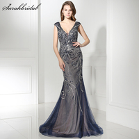 New Arrivals Luxury Formal Celebrity Mermaid Dresses 2018 With Zipper Floor Length Full Crystal Beading Robe