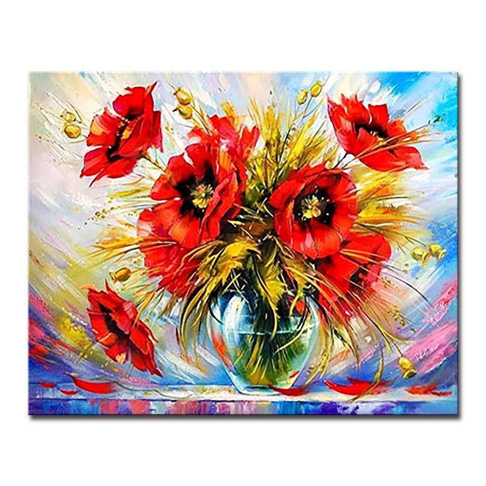 DIY Painting By Numbers Digital Drawing Red Flower Oil Pictures Hand Paint Poppy On Canvas Coloring Romantic Home Decor Wall Art