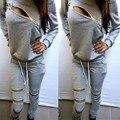 NOVA mulher marca moletom + calça um conjunto de treino das mulheres roupas cinza suit sporting zipper treino trajes esportivos