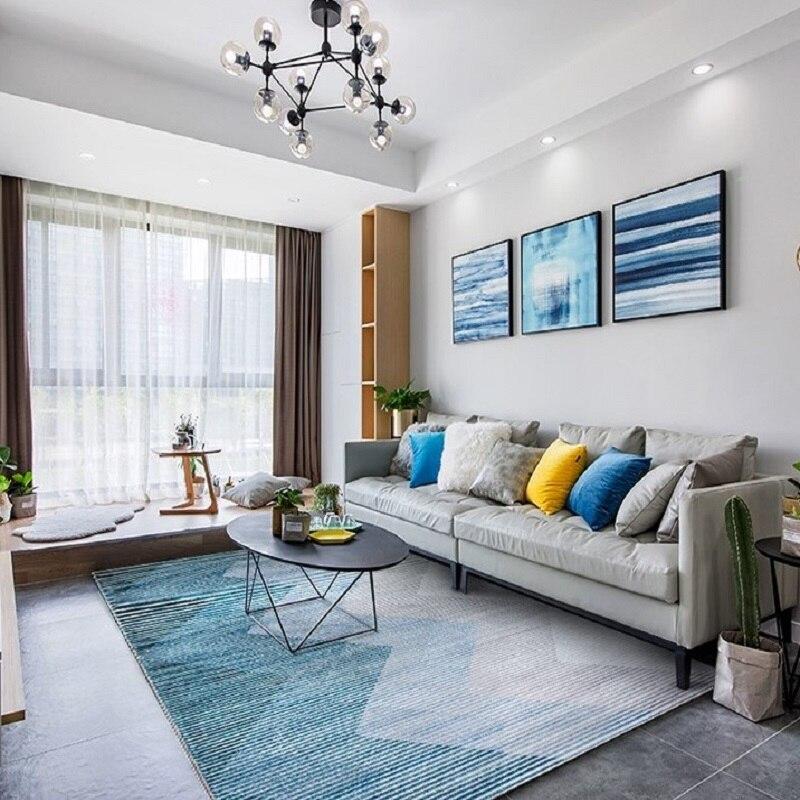 Tapis nordique de salon tapis de dinde pour chambre à coucher simple méditerranéen vert géométrique YOOSA canapé chambre tapis tapis tapis