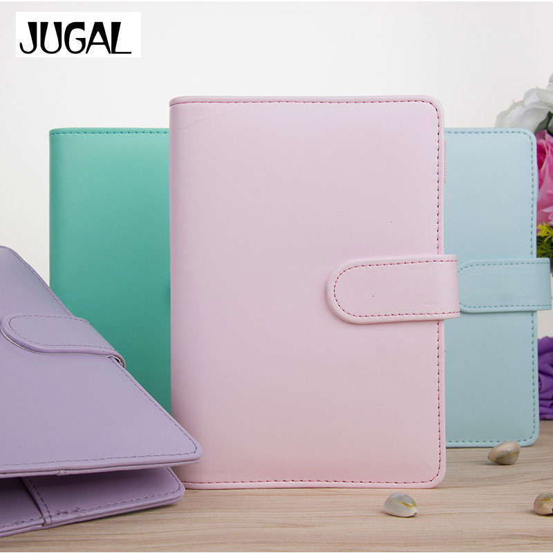 JUGAL Cute A5 A6 Candy Color Leather notebook 6 Hole Loose Leaf Spiral Binder Planner Diary Weekly Planner Agenda Organizer