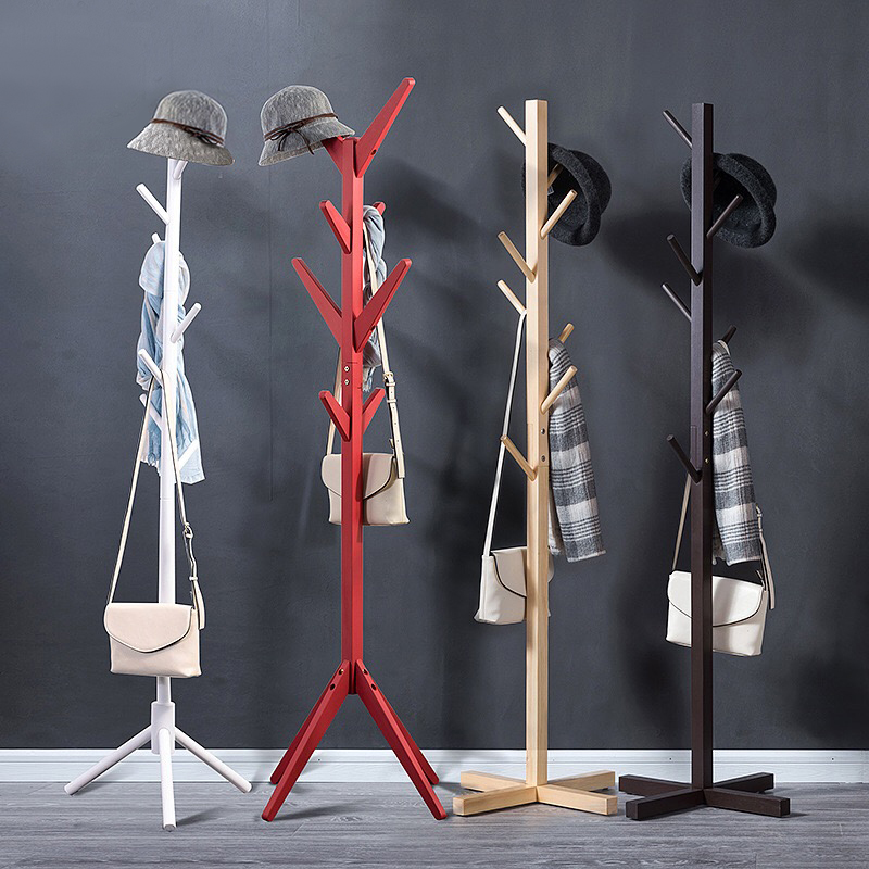 Solid Wood Coat Rack 8-Hook Clothes Hanger Hat Stand Floor Home Bedroom Storage Organizer Minimalist Modern Decorative Furniture