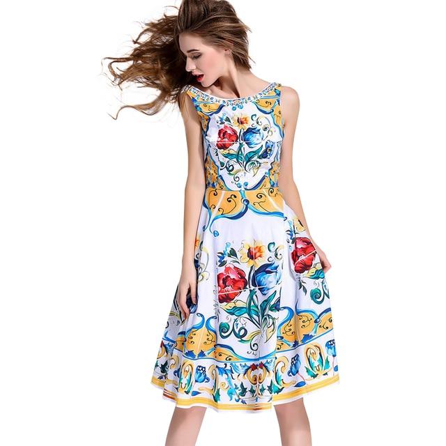 0c19e6f39e4e7 Aliexpress.com : Buy High Quality 2018 Summer Runway New Fashion Women  Sicilian Color Porcelain Print Sexy Halter Sleeveless Dress Free Shipping  from ...