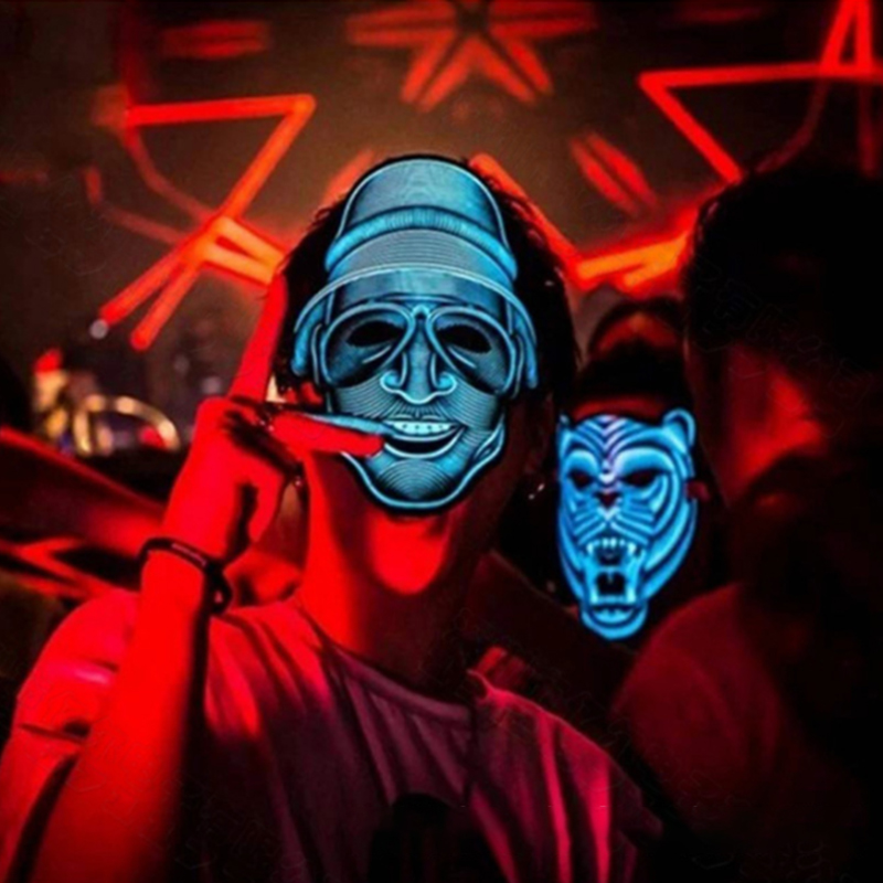 Halloween LED Mask Light Up EL Party Masks The Purge Election Year Great  Funny Masks Festival Cosplay Costume Supplies