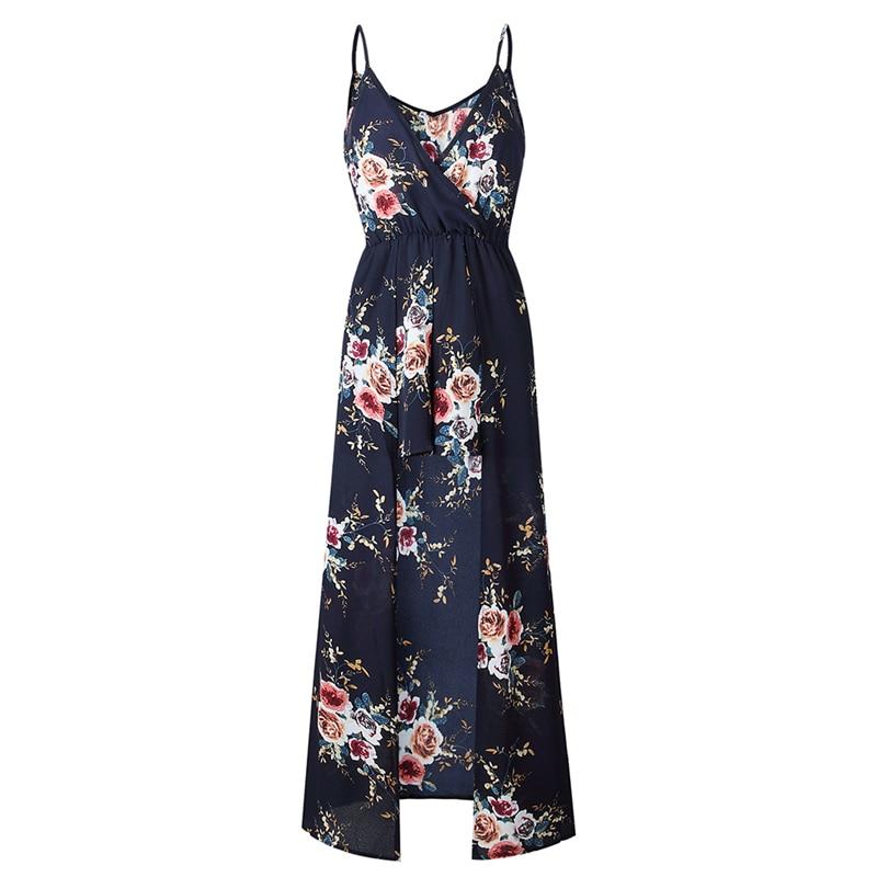 Fashion Women Floral Print Chiffon 2018 Spaghetti Strap Dresses Split Romper Playsuit Summer Beach Sexy Maxi Vestidos Jumpsuits