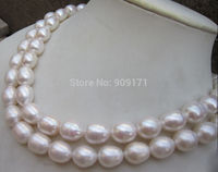 Free Shipping>>12 14MM AAA NATURAL WHITE SOUTH SEA BAROQUE PEARL NECKLACE 32 INCH