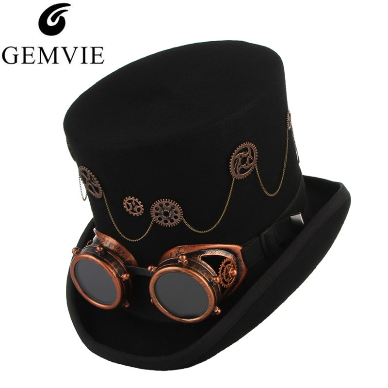 GEMVIE 100 Wool Felt Steampunk Unisex High Top Hats With Gear Glasses Rock Band Hat Costume