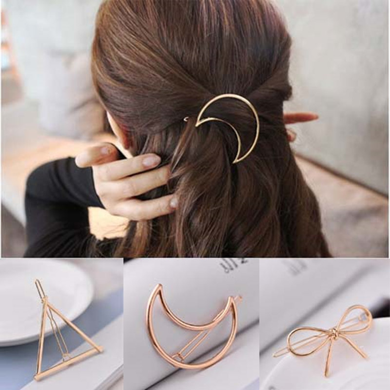 H:HYDE Hairpins Triangle Moon Hair Pin Jewelry For Women