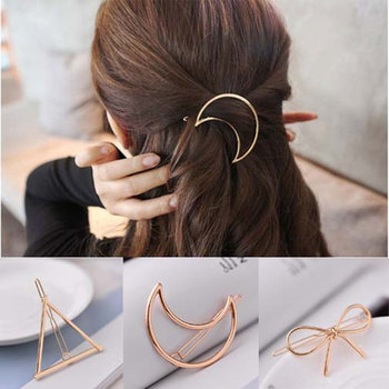 H:HYDE New Hairpins Triangle Moon Hair Pin Jewelry Clover Round Hair Clip