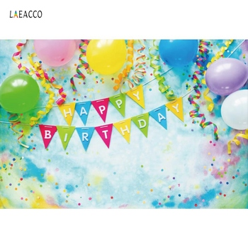 Laeacco Colorful Balloons Birthday Party Flags Family Shoot Child Poster Photo Background Photography Backdrop For Photo Studio laeacco happy easter day flags chick haystack brick wall home decor scene photography backdrop photo background for photo studio