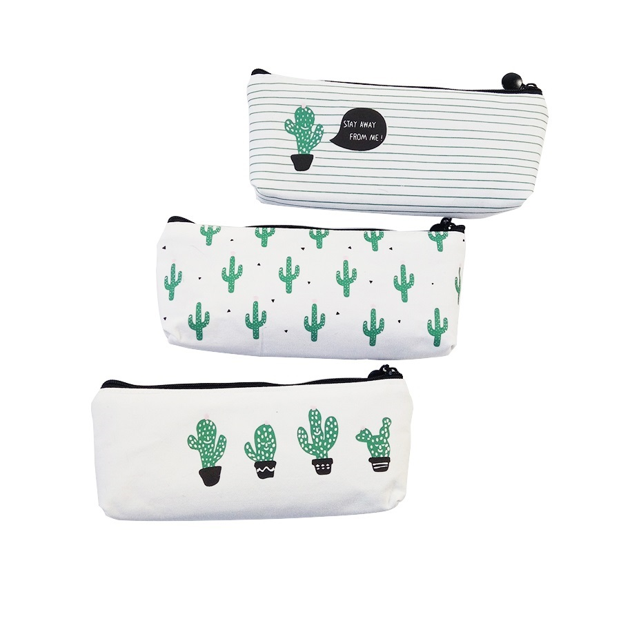 1Pcs/lot Cactus Pencil Cases Canvas Lovely Stationer  Cute Pencil Bag Box Office And School Supply
