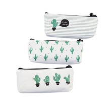 1Pcs/lot Cactus Pencil Cases Canvas lovely Stationer  Cute bag Box office and school supply
