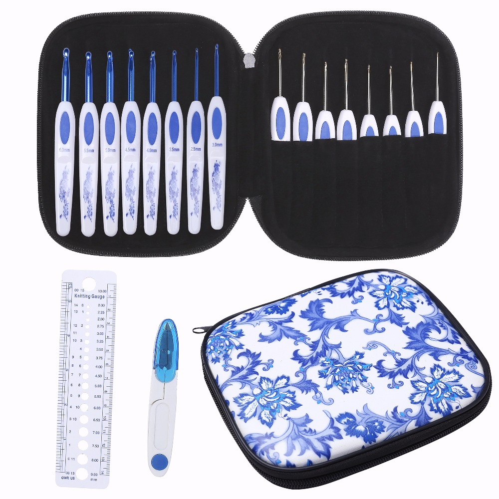 16pcs Blue white porcelain Aluminum Crochet Hooks Set Needles Knit Weave Craft Yarn For Home Sewing Needle crafts +scissor+Ruler