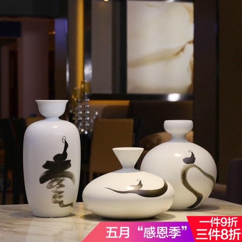 Керамика Новый китайский дзен три набора цветов в вазе для чайного стола вход Живое украшение комнаты