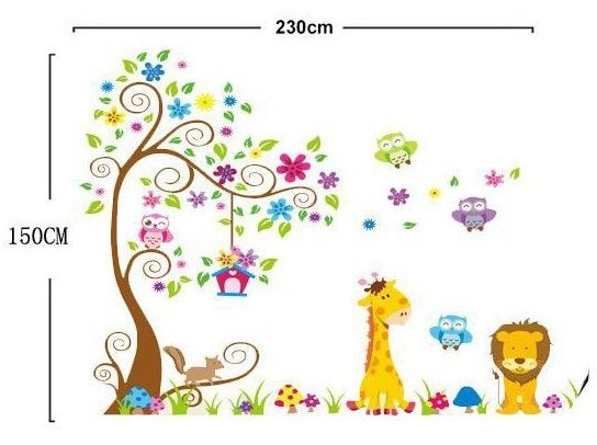 Cute giraffe lion owl scroll tree removable wall stickers animal kids nursery wall decals in wall stickers from home garden on aliexpress com alibaba