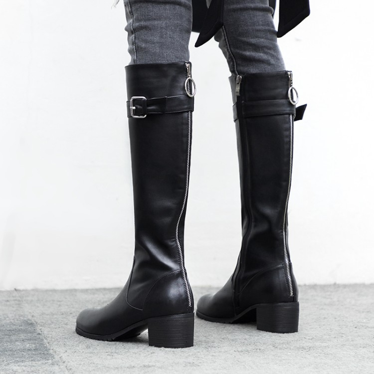 MLJUESE 2019 women knee high boots cow leather buckle strap winter black color short plush high