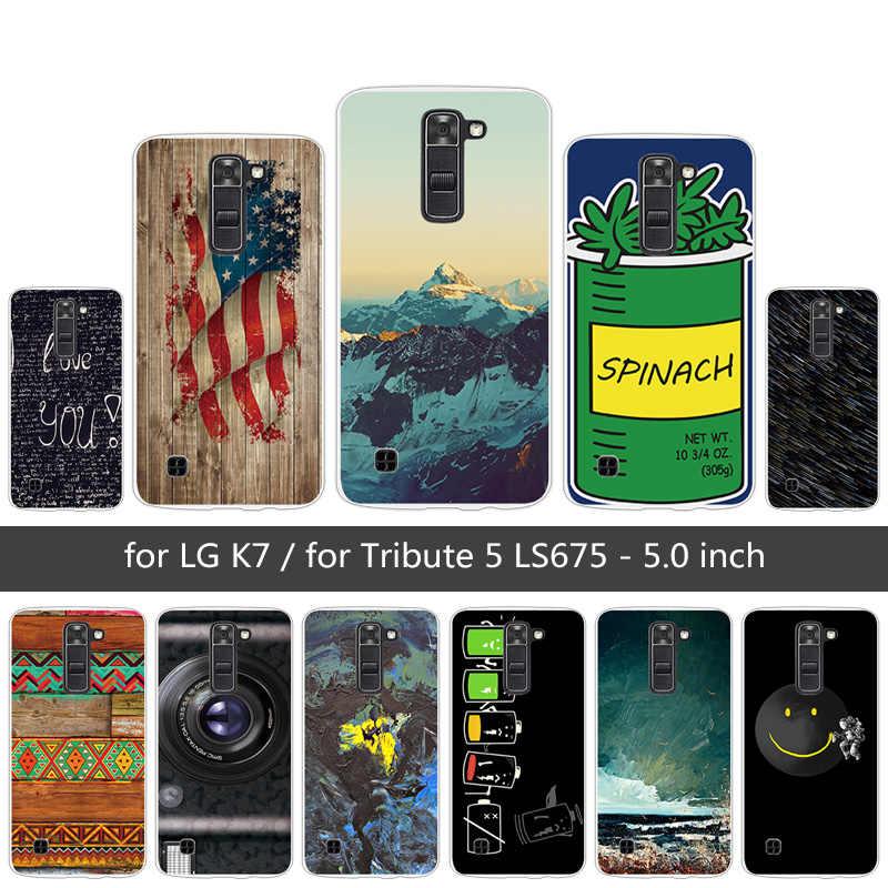 Cho LG LG K7 K330/Tribute 5 LS675/X210 X210DS Thời Trang Cover Quay Lại Fundas đối VỚI LG K7 TPU Siêu Mỏng Mềm Silicon Trời Trường Hợp Điện Thoại