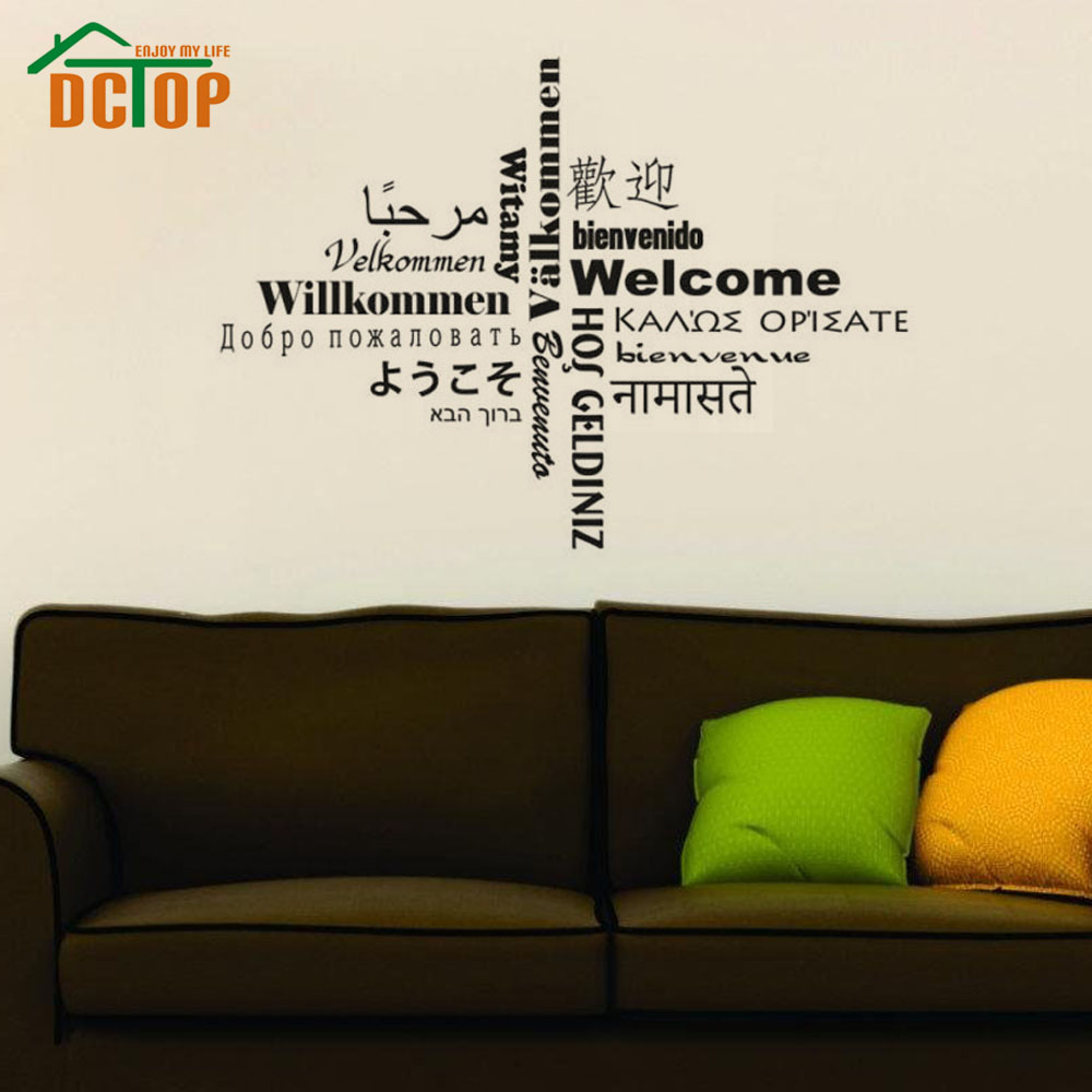 Buy all kinds language welcome wall sticker text creative home decor vinyl - Wall decor stickers online shopping ...