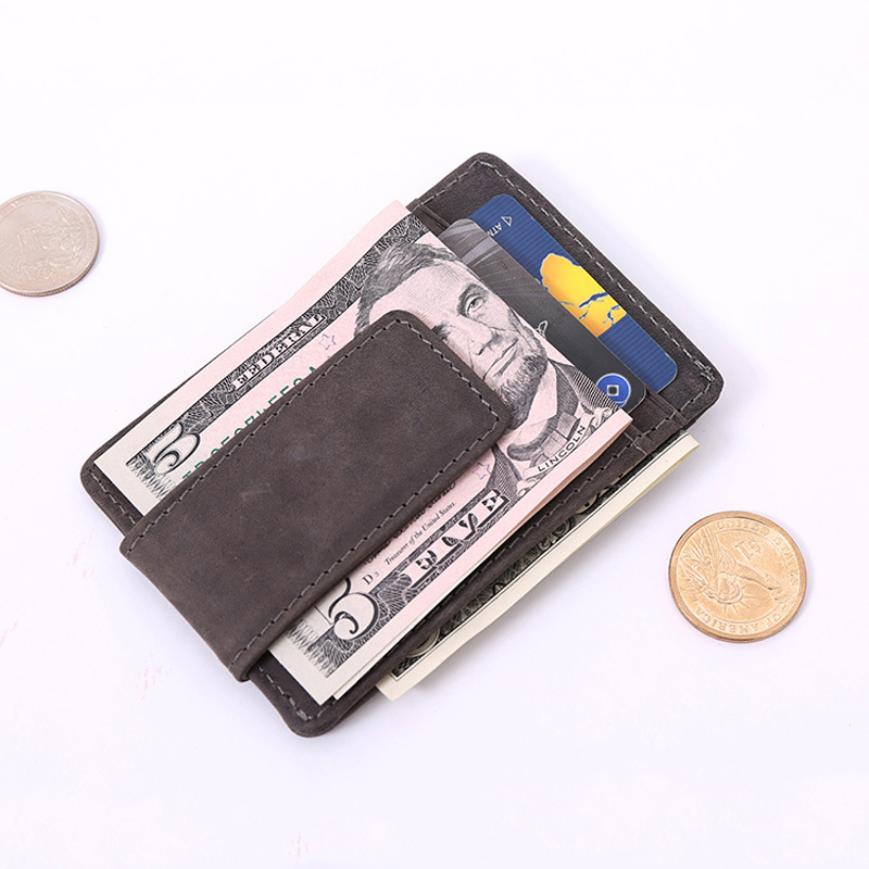Top Quality men wallets money clip carteira vintage style leather money holder male clamp for money clip purse brand luxury pu leather wallet men luxury famous brand designer coffee money clip open clamp clip carteira magica bid083 pm49