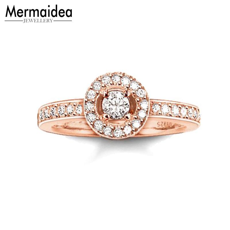 Rose Gold Color Openable White CZ Rings Fashion Open-end Light of Luna Solitaire Ring Jewelry Gift for Women