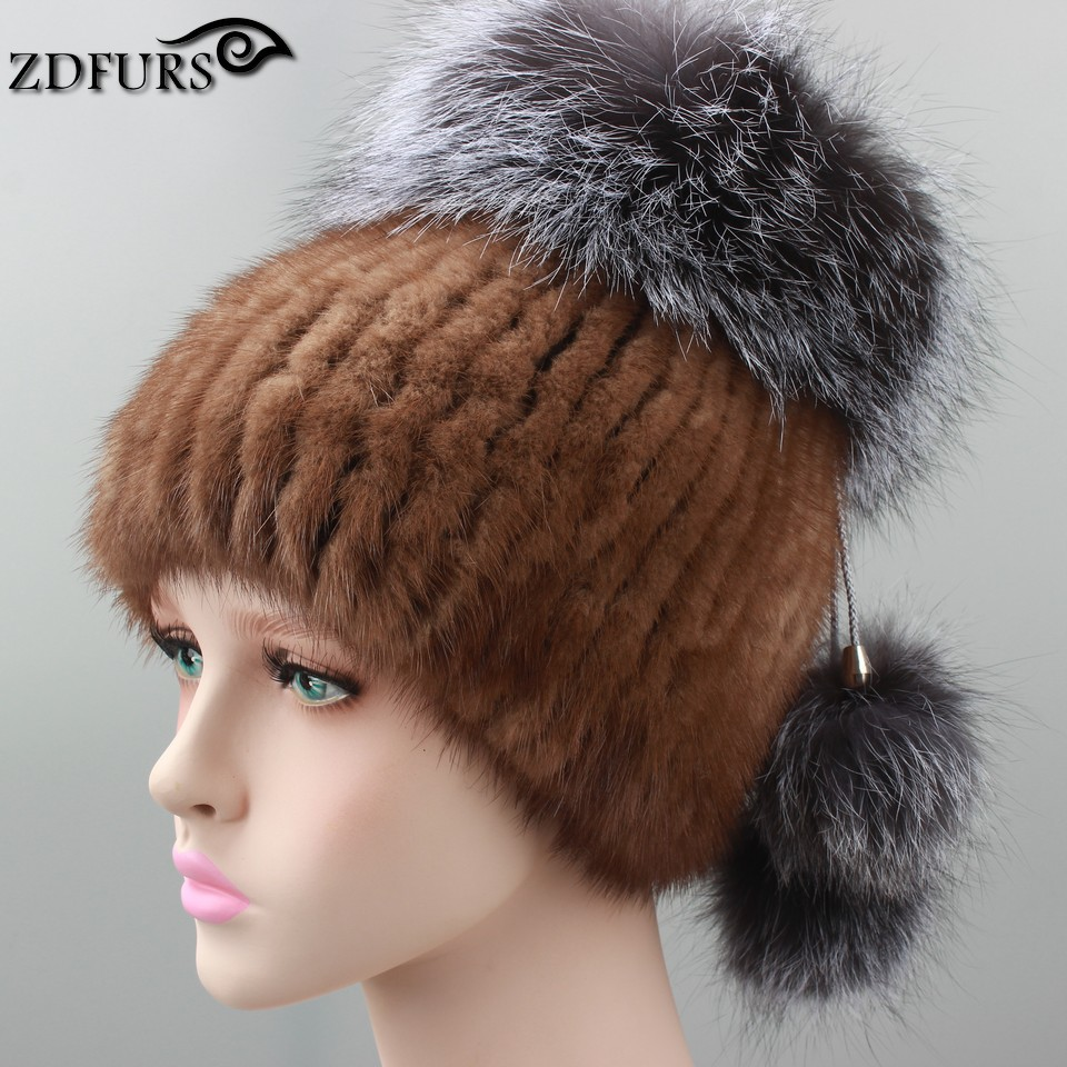 2016 Russian Style Real Mink Fur Hat for Women Brand Winter Knitted Mink Fur Beanie Cap with Fox Fur Pom Pom 6 Colors in Stock цены онлайн