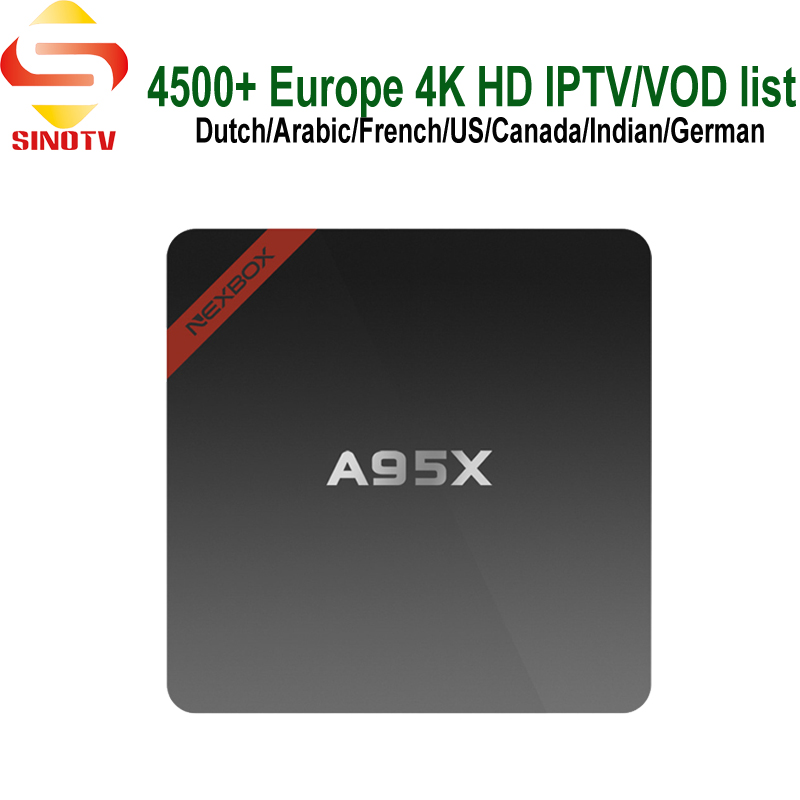 With 1 Year Sinotv Netherlands Subscription A95X 4K TV Box Android 7.1 French Arabic iptv Channels USA Canada Portugal Spain TV