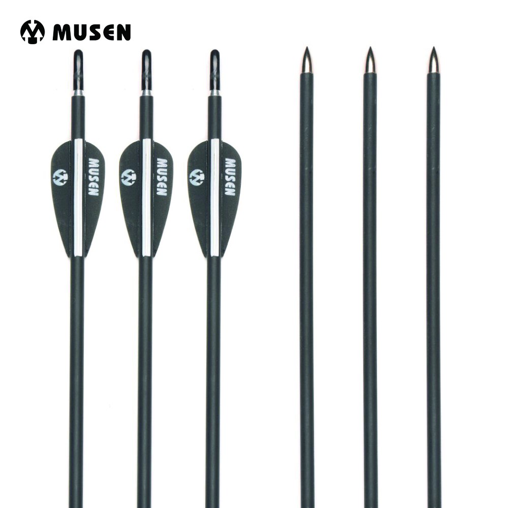6/12/24 pcs 31.5 Inches Spine 1000 Carbon Arrow with Black and White Color Feather for Recurve Bows Archery Shotting Target suunto arrow 6