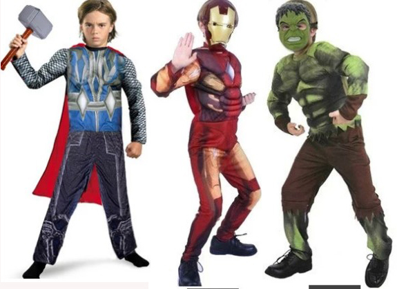 Free shipping,children Boys Marvel Animation Avengers Movie Hulk ,iron man ,Thor muscle costume clothing,suitable for kid