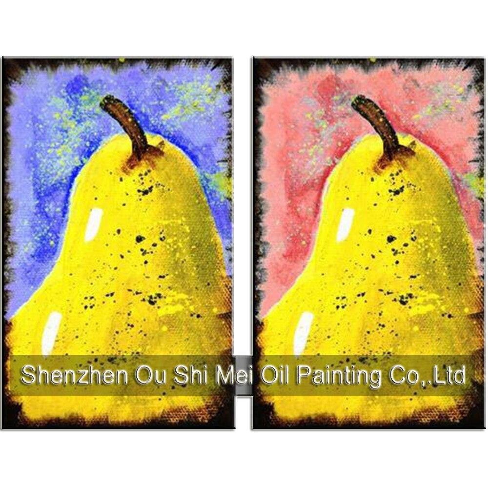 Art populaire peint à la main moderne abstraite jaune poire pour Restaurant décoration à la main Fruit nature morte peinture à l'huile sur toile
