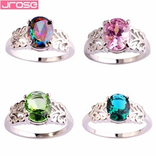 JROSE Wedding Engagement Lady Beautiful Jewelry Pink CZ Silver Color Ring Size 6 7 8 9 10 11 12 For Women Ring Popular