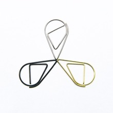 30pcs bigsizeMetal Material Drop Shape Paper Clips Gold Silver Color Funny Kawaii Bookmark Office Shool Stationery