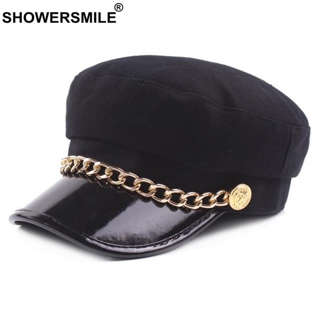 RAINIE SEAN Women Newsboy Hat Black Woolen Leather Patchwork Chain British  Style Vintage Baker Boy Hat Female Spring Sailor Cap df495d52b996