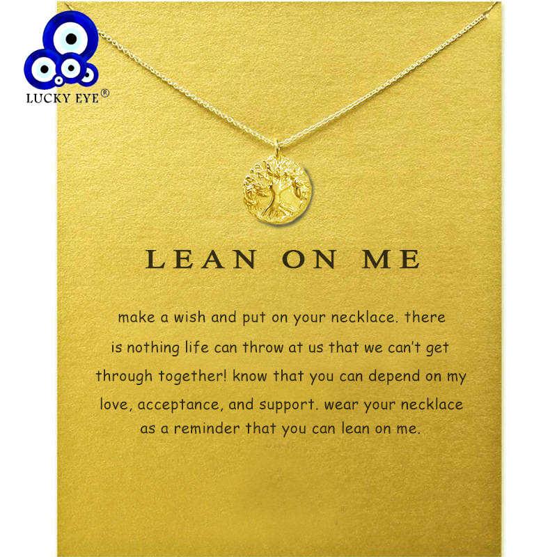 Lucky Wisdom Tree จี้สร้อยคอ Link Chain Clavicle โซ่สร้อยคอผู้หญิงเครื่องประดับการ์ด Wish ของขวัญ LE73