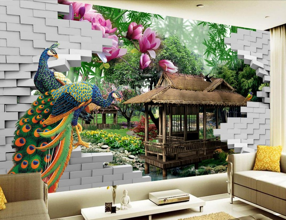 Buy mural 3d wallpaper 3d wall papers for for 3d garden decoration