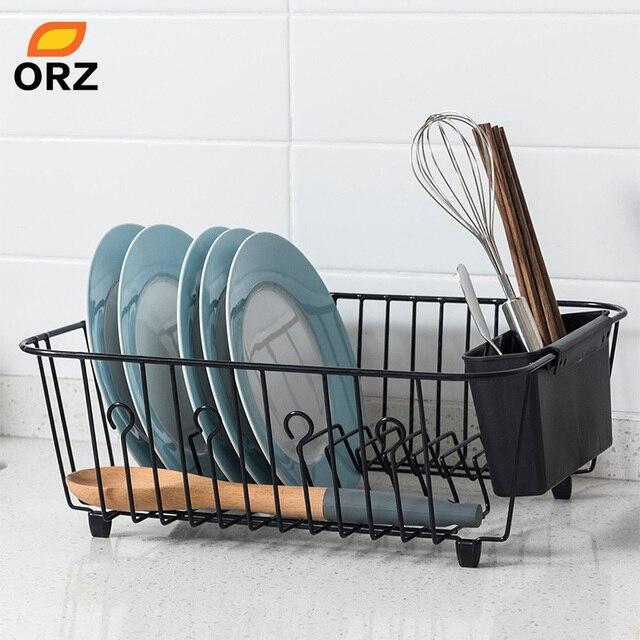 Orz袋水切り乾燥ラック金属キッチンシンクのためのプレートボウルカップ食器棚バスケット