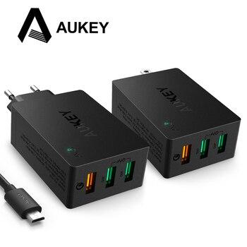 AUKEY de carga del cargador USB de carga rápida 3,0 3 Puerto USB cargador de pared para LG G5 Samsung Galaxy S7/S6/borde Nexus 6 P/5X iPhone iPad y más