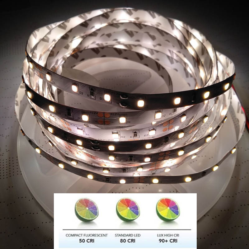 2018 New High  90+ CRI 12V 24V 2835 LED Strip Light White Warm White Nature White Available  5m/Roll 20-22lm/LED 60LED/m IP20