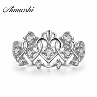 AINUOSHI Crown Ring Palace Restoring Ancient Ways The Queen's Temperament Anillos Heart Shaped 925 Sterling Silver Ring Women