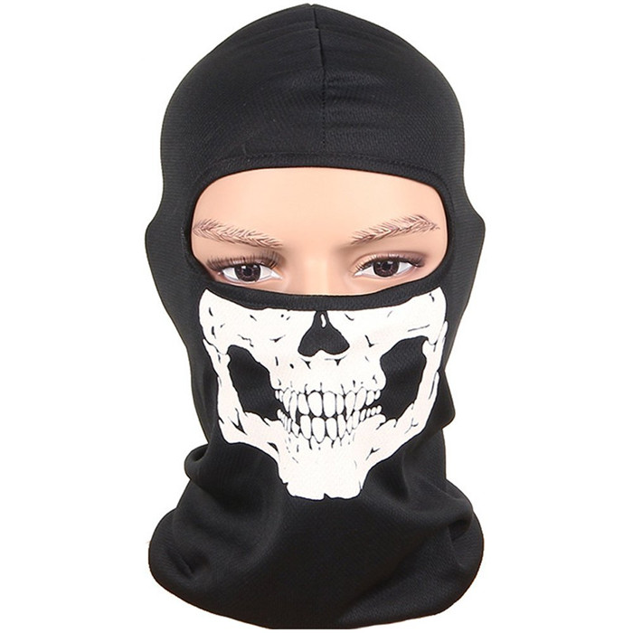 Ghost Skull Ski Outdoor Cycling Balaclava Neck Hood Full Face Mask Motorcycle protective outdoor war game military skull half face shield mask black
