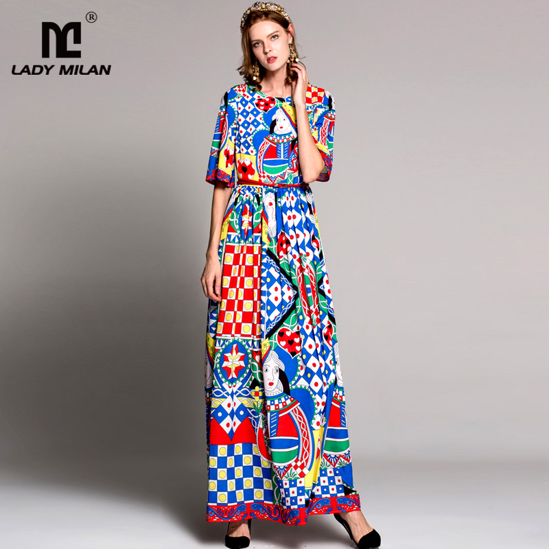 High Quality Womens O Neck Short Sleeves Printed Long Casual Dresses Fashion Floor Length Desinger Runway Dresses