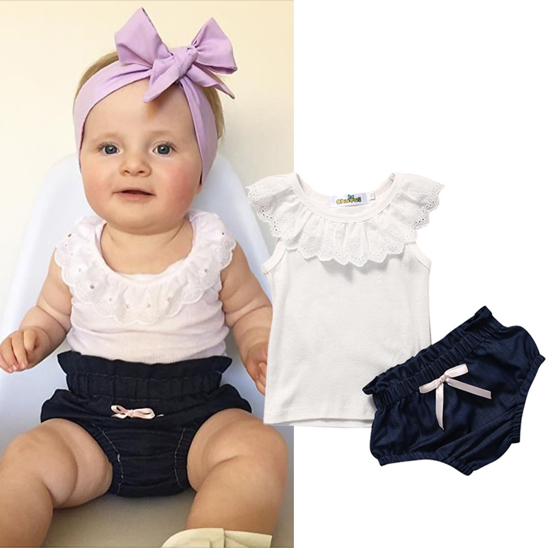 Baby Girls Lace Top T-shirt Denim Pants Bottoms Clothes 2PCS Newborn Toddler Baby Girl Clothing Set Outfits 3pcs baby girl lace tops t shirt floral short pant bottoms outfits set clothes wholesale