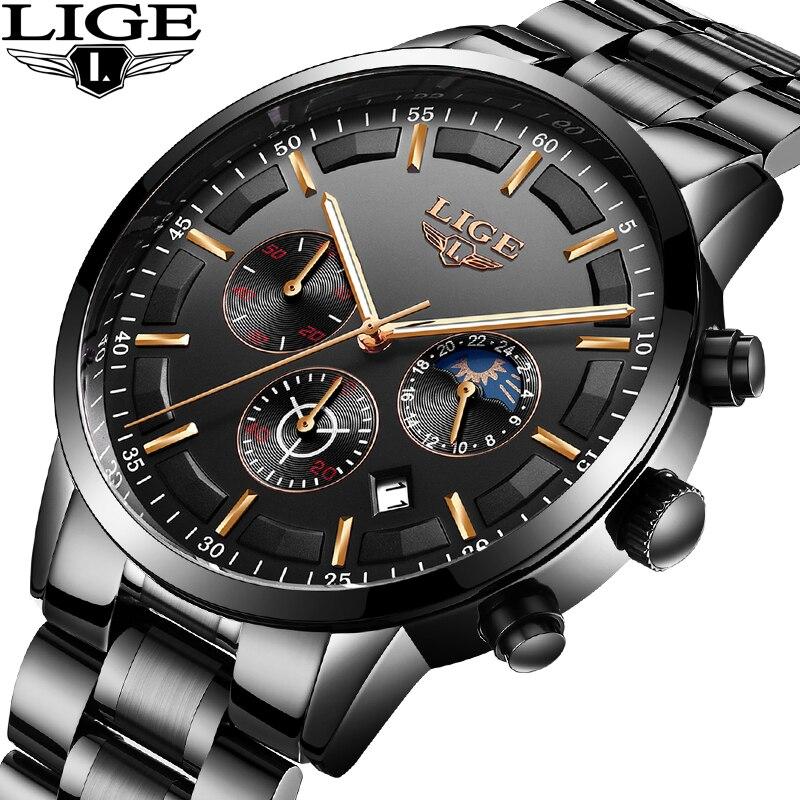 LIGE Assistir Esportes Dos Homens Top Marca de Luxo de Quartzo Relógio de Negócios de Moda À Prova D' Água Completa Aço Mens Relógios Relogio masculino + Caixa